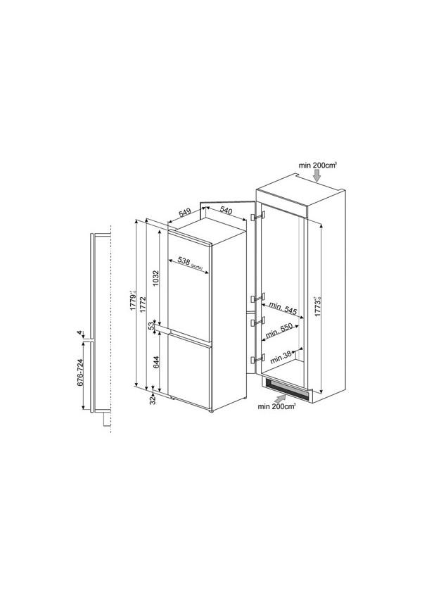 Smeg C7280NEP Beépíthető hűtő és fagyasztó