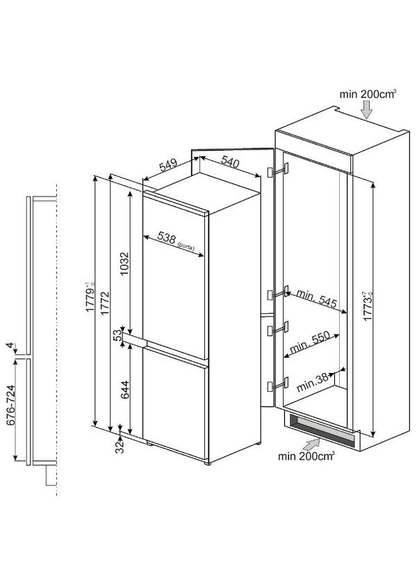 Smeg C3170FP Beépíthető hűtő és fagyasztó