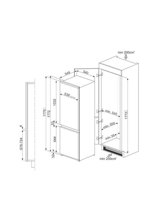 Smeg C3170P Beépíthető hűtő és fagyasztó