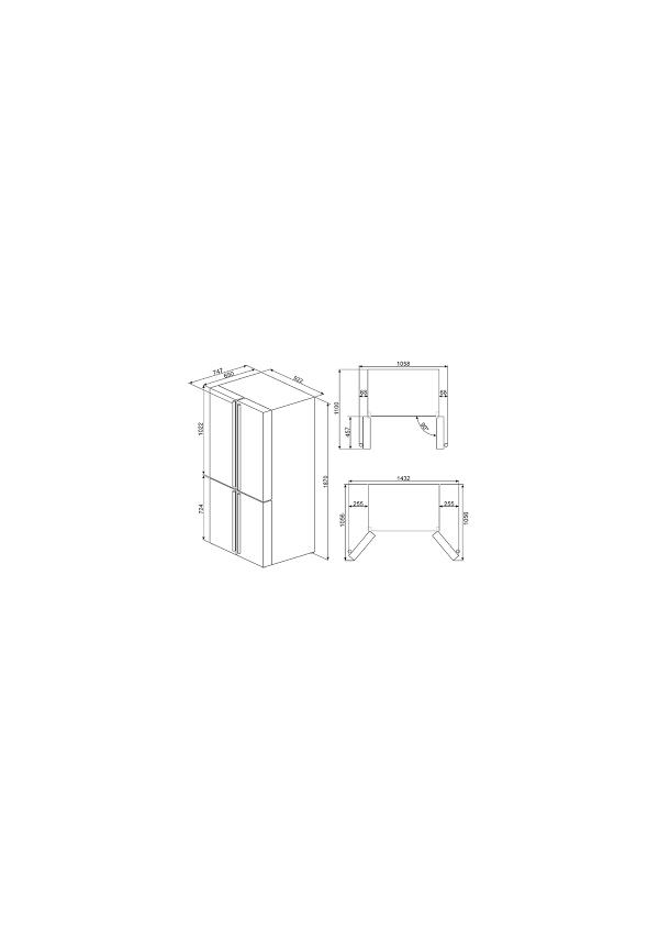 Smeg FQ60CAO Rusztikus 4 ajtós Side by side hűtő, antracit,