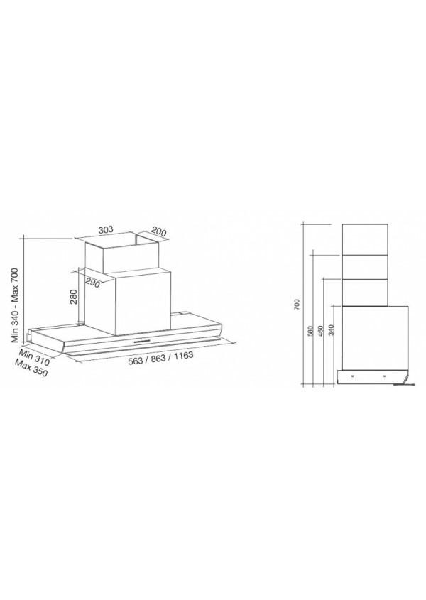 Falmec VIRGOLA 60 H34-H58 T600 Beépíthető páraelszívó