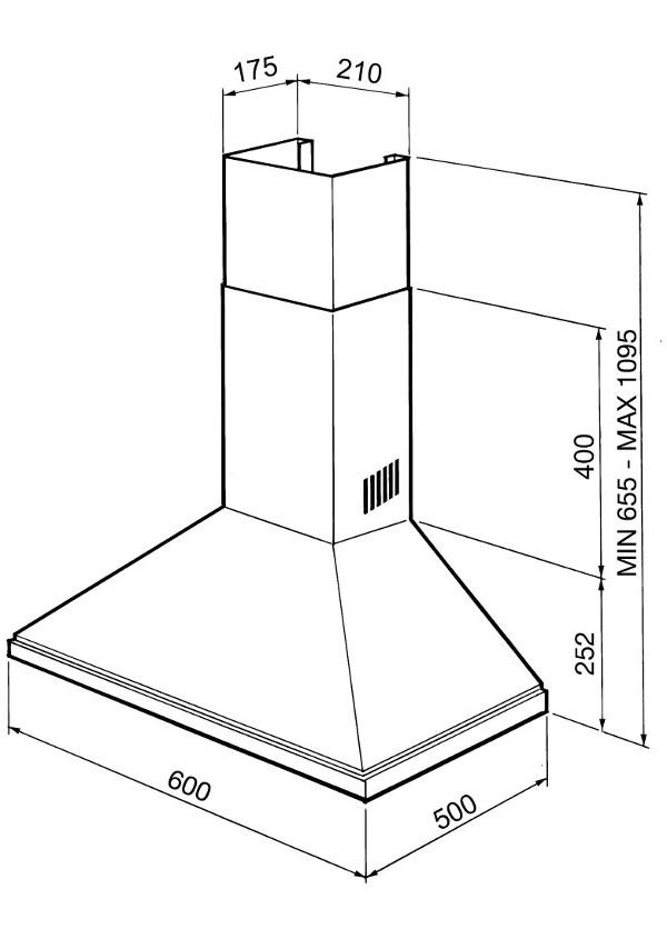 Smeg KSED65BE Kürtős fali páraelszívó, 60cm
